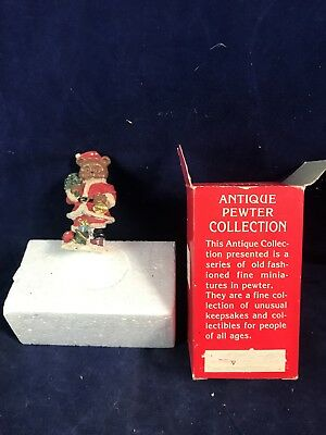 Antique Pewter Collection Santa Bear