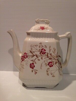 Antique Wood & Son SYLVAN English Ironstone TEAPOT COFFEE 1800sPink Brown Floral