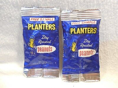 Vtg 1970's Planters Peanut Mr Peanut Dry Roasted Peanuts Free Sample Bags Full