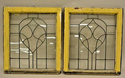 One Pair Leaded Glass Bevelled Windows W/ Tulip Or Flower Bud Design