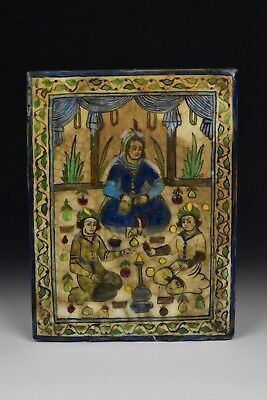 Antique 19th Century Qajar Pottery Tile with Characters Islamic Persian