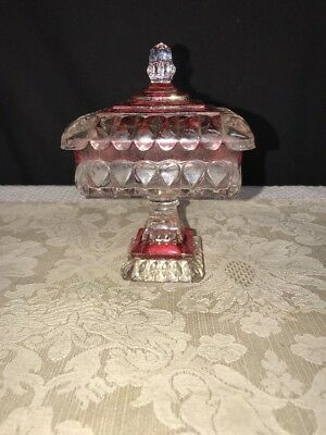 Indiana Glass Ruby Red Glass Covered Candy Compote Dish Square Vintage