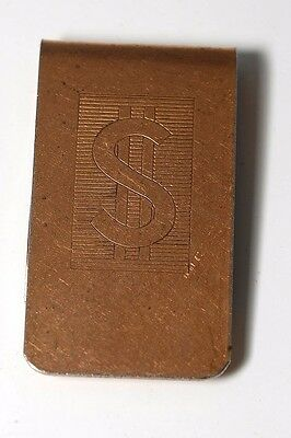 Vintage Collectible Antique Copper Plated Dollar Sign $$$ Money Clip NOS