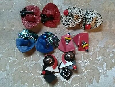 Vintage 80's  Earrings Lot of Colorful Retro 5 pairs geometric funky
