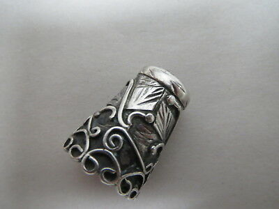 Vtg Sterling Silver Mexico Hand Made Thimble Intritcate Design Tall Size