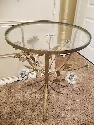 FAB~Vintage Italian Gold Gilt Floral Leaf Tole Glass  Round Top Table Wild Roses