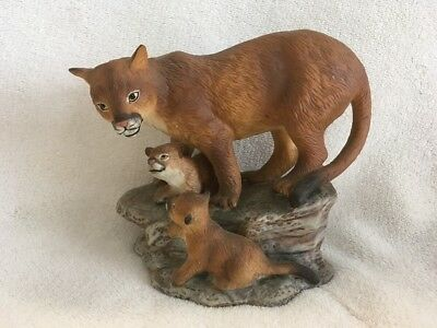 Vintage Masterpiece Porcelain Endangered Species Mountain Lion 1994 by HOMCO