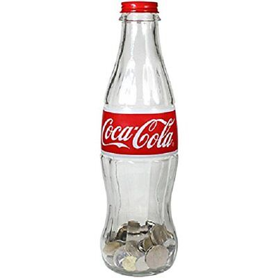 Coca Cola Glass Contour Bottle Bank Save Store Coins and Paper Money For Kids