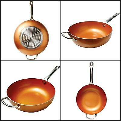 12 Inch Copper Frying Pan Non Stick Ceramic Infused Titanium Steel Scratch Proof