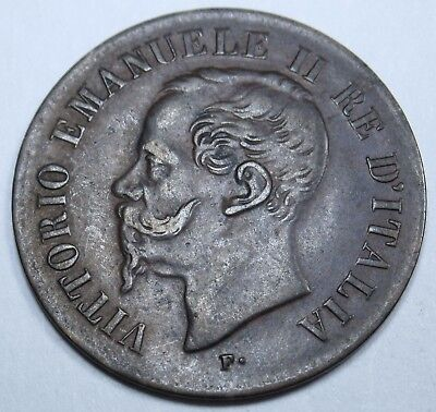 Italy 1867 2 Centesimi High Grade Italian Ten Cent Coin Money Antique Currency