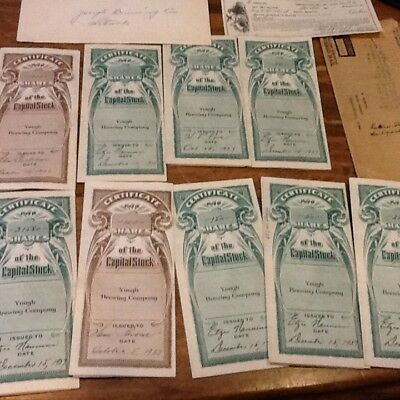 9 Vintage Lot Connellsville Pa. Yough Brewing Company Capital Stock Certificates