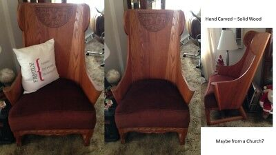 Chair hand carved- wood (oak) with rust colored cushion