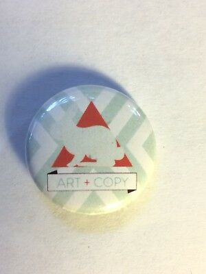 Art and Copy rabbit grapic design pin size 1.5 inches red pyramid