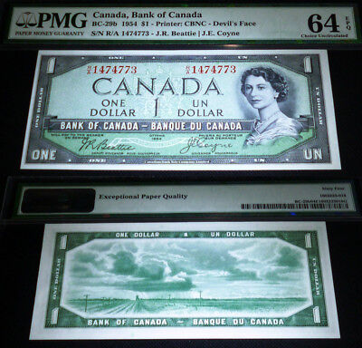 World Famous- Devils Face Banknote Bank Of Canada 1954 $1  Pmg 64 Epq