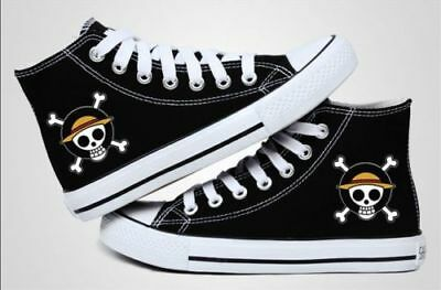 ONE PIECE Anime Canvas Shoes LUFFY SKULL Logo Classic Black Casual Shoes Hot
