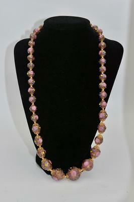 Vintage Venetian Murano Italian Glass Pink/Gold Roses Wedding Cake Bead Necklace