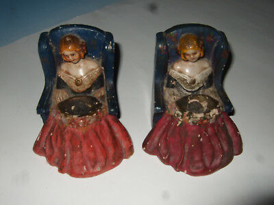 Vtg Antique Set Of Victorian Chalkware Bookends Book Ends pretty lady in chair