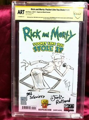 RICK AND MORTY POCKET #1 CBCS ORIGINAL ART 3x SS/SKETCHED ROILAND/TINI/FOWLER!!