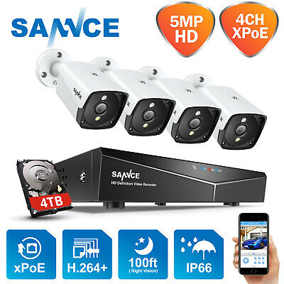 SANNCE 1080P 4CH Network NVR Outdoor POE IP CCTV Camera Home Security System 4TB