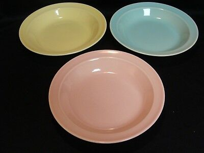 Vintage Pastel Luray Flat Rim Soup Bowls Three in Group Blue Pink Yellow