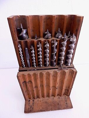 Vintage Russell Jennings 13 Piece Auger Bits in Old Wooden Case Box Drill Bits