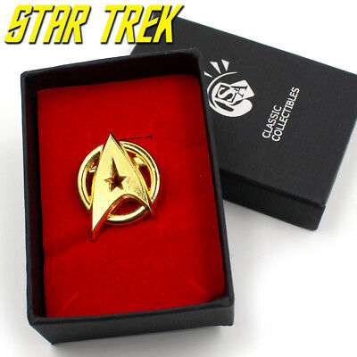 Star Trek Captain Kirk Communicator Gold Metal Badge Pin Brooch+Souvenir Box Hot