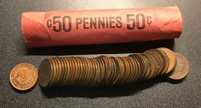 FULL DATE Roll of 50 Full Roll Indian Head Cents 1800's 1900's Indian Penny