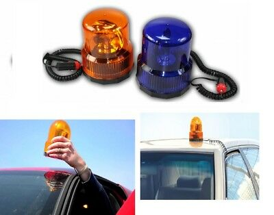 12V Revolving Beacon Signal Light BLUE / AMBER Magnetic Bottom Car Van Safety