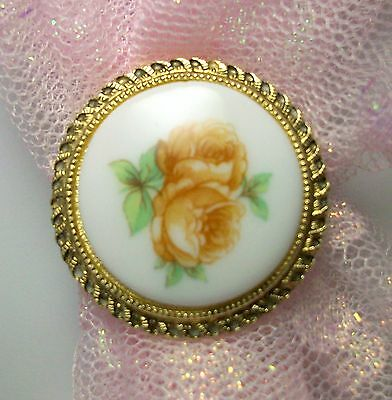 Vintage Scarf Clip Brooch Pin Gold Tone Rose Flowers Western Germany