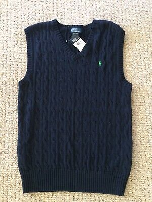 Ralph Lauren Polo Boys Sweater Vest Size L   14-16 Navy with Green Pony NWT