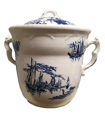 Antique Maddock Lamberton Large Two Handled Nautical Blue White Chamber Slop Pot