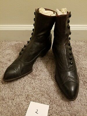 Brown Victorian Antique Womens Button Boots
