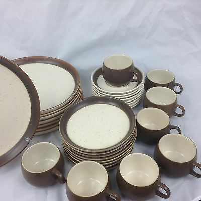 DENBY LANGLEY BROWN/TAN ENGLISH RAMS HEAD Dinner, dessert plates, cups, saucers