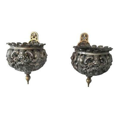 Antique French Wall Sconces or Planters Brass Pierced French Wall Planter