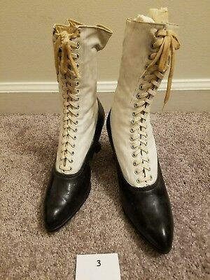 White & Black High Lace Up Antique Victorian Shoes Women's