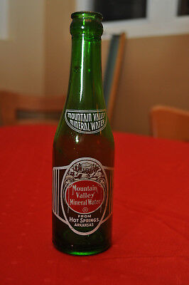 Vintage 7 oz Mountain Valley Mineral Water Green Bottle 100