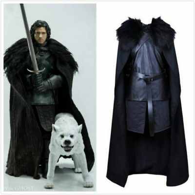 2018 Game of Thrones Jon Snow Cosplay Costume Fashion Party Black Men's Outfit