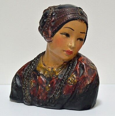 RARE 1920s LARGE ESTHER HUNT POLYCHROME CHALKWARE BUST ~ THE CHINESE PRINCESS