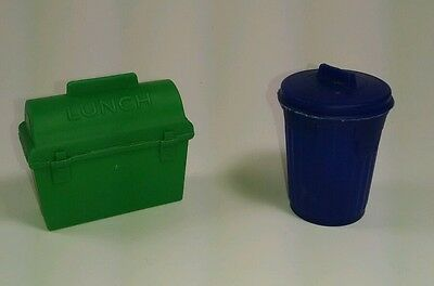 Vtg Lot Of 2 TOPPS Bubble Gum Garbage Trash Can + Lunch Pail Candy Containers