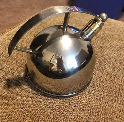 Chantal Classic Retro Tea Kettle Stainless SL37-16 Whistle 1.5QT MCM chrome