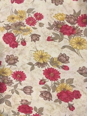 "VTG FEEDSACK Cotton Fabric FLORAL ROSES DAISIES 36"" X 41"""