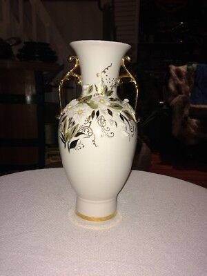 Fenix Russian Porcelain Vase Iridescent White w raised Floral Design & Gold Trim