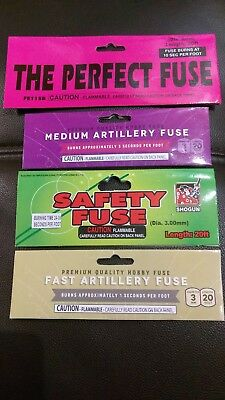 (4) Pack Perfect - Medium & Fast Artillery - Safety Hobby Cannon Fuse Label Lot