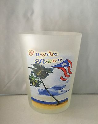 Puerto Rico Frosted Shot Glass - PR Flag & Palm