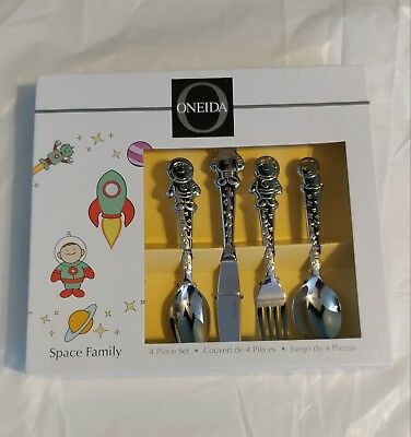 NIB Oneida 4pc Children's Silverware Set Space Family 18/10 Stainless