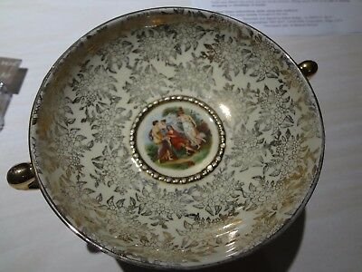 England Ware Gold Chintz Pedestal Dish With Victorian Scene In Middle