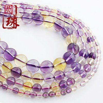 1Strand Unique Natural Purple Yellow Crystal Round Loose Beads 15.5inch HH3599
