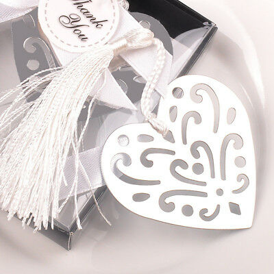 1pc Exquisite Heart Alloy Bookmark With Ribbon Box Best Gift For Friend Student
