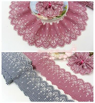 "3""*1Y Embroidered Cotton Plaid Lace Trim~Deep Red/Deep Navy Blue+White~Lovely~"