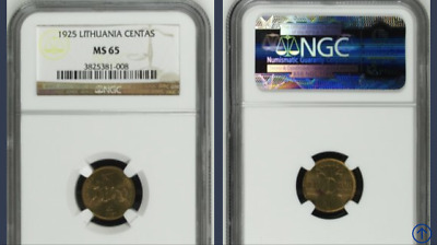 Lithuania MS65 NGC 1925 1 cent coin HIGH GRADE MS 65 RARE uncirculated UNC